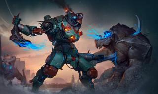 фэнтези, роботы,  киборги,  механизмы, jaeger, pacific, rim, робот, река, kaiju, битва