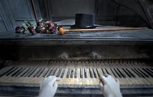 музыка, -музыкальные инструменты, пианино, цветы, трость, шляпа, руки