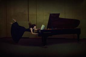 музыка, -другое, девушка, ноты, рояль, полет