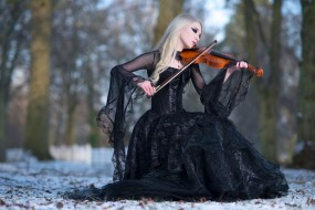 музыка, -другое, природа, деревья, скрипка, девушка