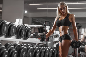 dumbbells, sports, girl, Workout, fitness model, gym, model, blonde, fitness, exercising