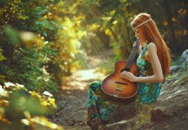 музыка, -другое, природа, растения, гитара, девушка