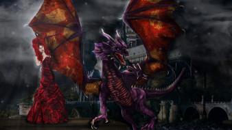 фэнтези, драконы, дракон, фон, девушка