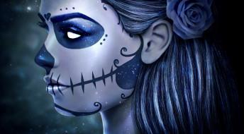 лицо, sugar skull, арт, dia de los muertos, роза, макияж, девушка, череп