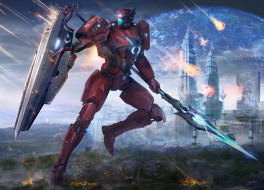 фэнтези, роботы,  киборги,  механизмы, лодка, pacific, rim, арт, закат, река, щит, катер, город, jaeger, робот