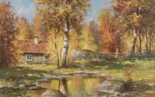 Swedish painter, Autumn landscape, Анхелм Даль, Anshelm Dahl, Осенний пейзаж, шведский художник