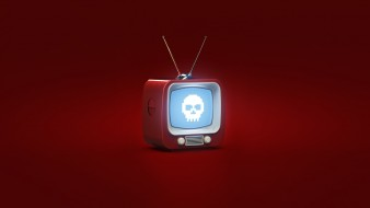 Красный, Арт, Evil TV, Фон, Телевизор, Александр Овчаренко
