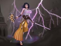веер, меч, девушка, фон, взгляд