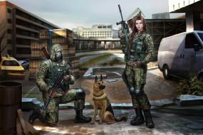фон, девушка, мужчина, город, собака, оружие, камуфляж