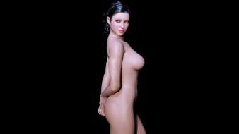 эро-графика, 3д-эротика, взгляд, девушка, фон, грудь