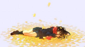 девочка, осень, листья