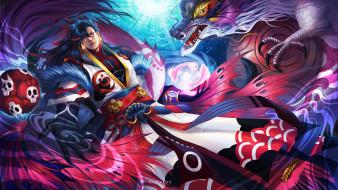 аниме, onmyouji, арт, дух, воин, onmyoji, дракон, мужчина