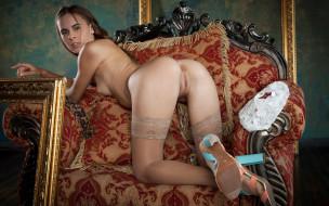 xxx, голая, красотка, gracie, грудь, фон, взгляд, девушка, кресло, поза