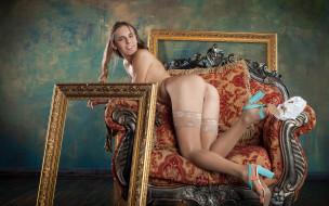 xxx, фон, взгляд, девушка, кресло, поза, голая, красотка, gracie, грудь