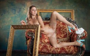 xxx, кресло, поза, голая, красотка, gracie, грудь, взгляд, фон, девушка
