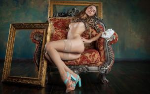 xxx, кресло, поза, голая, девушка, красотка, взгляд, фон, грудь, gracie