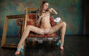 xxx, поза, кресло, голая, красотка, девушка, взгляд, фон, грудь, gracie