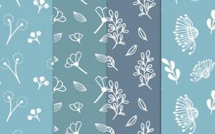 векторная графика, цветы , flowers, синий, голубой, узор