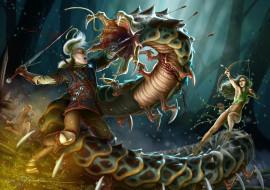 фэнтези, существа, дракон, парень, фон, взгляд, девушка