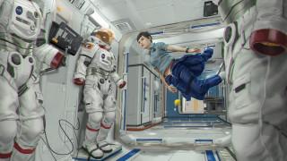 фэнтези, космические корабли,  звездолеты,  станции, девушка, полет, фон, скафандр