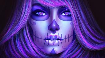 фэнтези, нежить, волосы, девушка, dia, de, los, muertos, catrina, sugar, skull, взгляд, арт, лицо