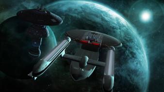 галактики, космический корабль, полет, вселенная