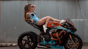 мотоциклы, мото с девушкой, девушки