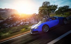 Бугатти, скорость, деревья, синий, Veyron, камни, дорога, шоссе, трасса, горы