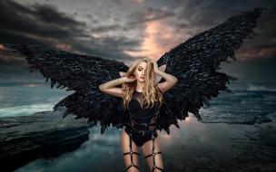 ангел, крылья, Ренат Хисматулин, девушка, море, сбруя