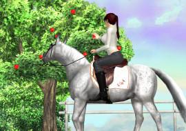 фон, лошадь, девушки, взгляд
