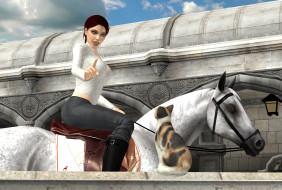 лошадь, фон, девушки, взгляд