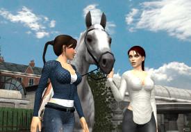 фон, взгляд, лошадь, девушки