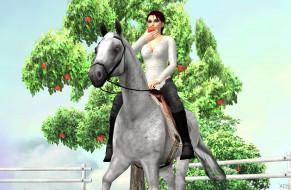 фон, лошадь, взгляд, девушки