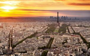 панорама, башня, восход, небо