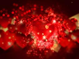 праздничные, день святого валентина,  сердечки,  любовь, bokeh, background, love, romantic, сердечки, hearts, valentine's, day, red