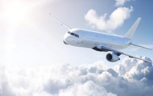полет, небо, облака, самолет