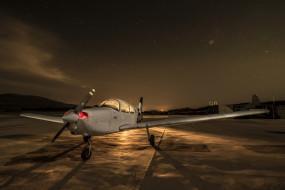 аэродром, самолёт, ночь