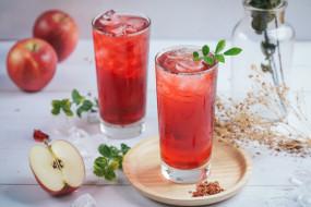 лед, напиток, яблоко, лето