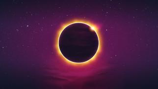 Retrowave, Synth, Затмение, Ретровейв, Синтвейв, Futuresynth, New Retro Wave, Планета, Звезды, Солнце, Фон, Synthwave, Outrun