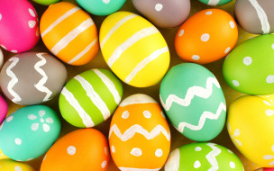 Пасха, colorful, яйца крашеные, holiday, eggs, Easter, happy