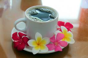 чашка, кофе, плюмерия