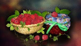 обои на рабочий стол, варенье из малины, ягода, авторское фото Елена Аникина, малина, натюрморт