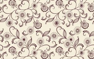 цветы, фон, узор, вектор, текстура, листики