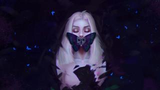 фэнтези, девушки, бабочка, фон, девушка