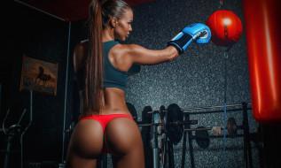 спорт, бокс, фон, взгляд, девушка