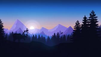 векторная графика, животные , animals, горы, птица, лес, вид, холмы, олень, пейзаж, животное, campo, santo, firewatch, пожарный, дозор