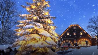 снег, елка, дом