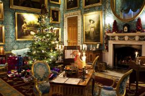 подарки, елка, камин
