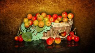 beautiful, китайка, красивые, корзинка, красота, яблоки, настроение, harmony, beauty