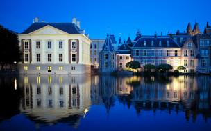 гаага, нидерланды, города, - огни ночного города